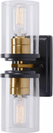 Forte 2424-02-62 Duo Black and Soft Gold Lamp Sconce