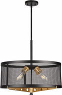 Forte 7119-04-62 Takoma Contemporary Black and Soft Gold 22  Drum Drop Ceiling Light Fixture
