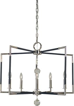 Framburg 5046-PN-MBLACK Felicity Contemporary Polished Nickel with Matte Black Accents Lighting Chandelier