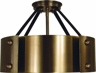 Framburg 5290-AB-MBLACK Lasalle Contemporary Antique Brass with Matte Black Accents 15 Flush Mount Lighting