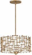 Fredrick Ramond FR33103BNG Farrah Contemporary Burnished Gold Drum Ceiling Light Pendant