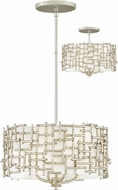 Fredrick Ramond FR33103SLF Farrah Contemporary Silver Leaf Drum Ceiling Light Pendant / Overhead Lighting Fixture