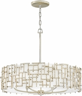 Fredrick Ramond FR33104SLF Farrah Modern Silver Leaf Drum Drop Lighting