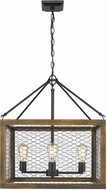 Golden Lighting 0270-4-BLK-BLK Sutton Rustic Black / Wooden Foyer Light Fixture