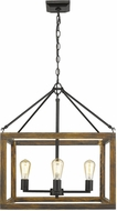 Golden Lighting 0270-4-BLK Sutton Country Black / Wooden Foyer Lighting