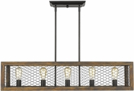 Golden Lighting 0270-LP-BLK-BLK Sutton Rustic Black / Wooden Kitchen Island Lighting