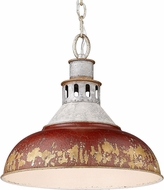 Golden Lighting 0865-L-AGV-RED Kinsley Aged Galvanized Steel Hanging Lamp