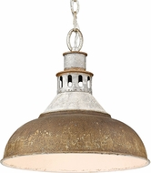Golden Lighting 0865-L-AGV-RUST Kinsley Aged Galvanized Steel Hanging Light