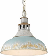 Golden Lighting 0865-L-AGV-TEAL Kinsley Aged Galvanized Steel Pendant Light Fixture