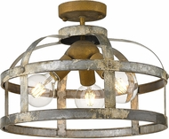 Golden Lighting 0869-SF-CS Bavaria Colonial Steel Ceiling Light