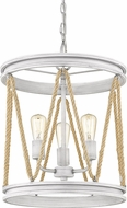 Golden Lighting 1048-3P-GDW Chatham Rustic Gray Driftwood Drum Pendant Light