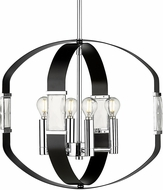 Golden Lighting 1374-4P-CH-BLK Ariana Chrome Pendant Hanging Light
