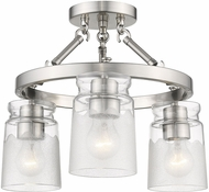 Golden Lighting 1405-3SF-PW-CAG Travers Modern Pewter Ceiling Light Fixture