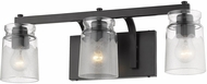 Golden Lighting 1405-BA3-BLK-CAG Travers Contemporary Black 3-Light Bathroom Lighting