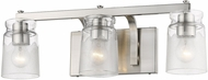Golden Lighting 1405-BA3-PW-CAG Travers Modern Pewter 3-Light Lighting For Bathroom