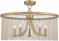Golden Lighting 1771-5SF-PG-CRY Marilyn Peruvian Gold Ceiling Light Fixture