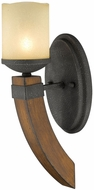 Golden Lighting 1821-BA1-BI Madera Country Black Iron Halogen Wall Lighting Sconce