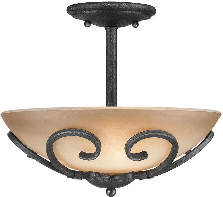 Golden Lighting 1821 Sf Bi Madera Country Black Iron Semi