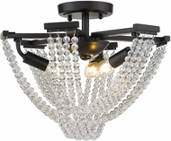 Golden Lighting 1896-3SF BLK-CRY Samba Matte Black 14  Ceiling Light Fixture