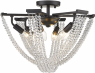 Golden Lighting 1896-6SF BLK-CRY Samba Matte Black 18  Overhead Lighting