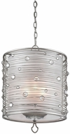 Golden Lighting 1993-3P-PS Joia Peruvian Silver Drum Hanging Light