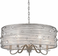 Golden Lighting 1993-5-PS Joia Peruvian Silver Drum Pendant Light Fixture