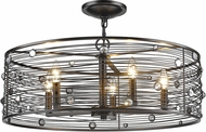 Golden Lighting 1998-5SF-EBB Bijoux Contemporary Brushed Etruscan Bronze Flush Mount Lighting
