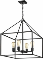 Golden Lighting 2072-4-BLK Wesson Modern Black Mini Ceiling Chandelier