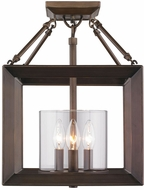 Golden Lighting 2073-SF-GMT Smyth Contemporary Gunmetal Bronze Semi-Flush Home Ceiling Lighting / Pendant Lamp