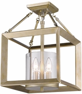 Golden Lighting 2073-SF-WG-CLR Smyth Modern White Gold Semi-Flush Ceiling Lighting / Pendant Light Fixture