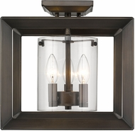 Golden Lighting 2073-SF12-GMT-CLR Smyth Contemporary Gunmetal Bronze Ceiling Light Fixture