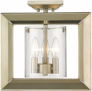 Golden Lighting 2073-SF12-WG-CLR Smyth Modern White Gold Ceiling Lighting Fixture