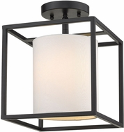 Golden Lighting 2243-1SF-BLK-MWS Manhattan Contemporary Black Flush Mount Light Fixture