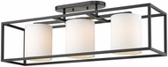 Golden Lighting 2243-3SF-BLK-MWS Manhattan Contemporary Black Flush Mount Lighting Fixture