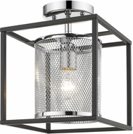Golden Lighting 2245-1SF-CH-BLK London Modern Chrome Overhead Light Fixture