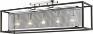 Golden Lighting 2245-5SF-CH-BLK London Contemporary Chrome Ceiling Light