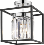 Golden Lighting 2247-1SF-CH-BLK Paris Contemporary Chrome Flush Mount Lighting