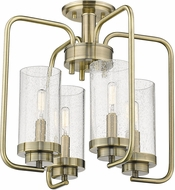 Golden Lighting 2380-4SF-AB-SD Holden Contemporary Aged Brass Overhead Lighting Fixture