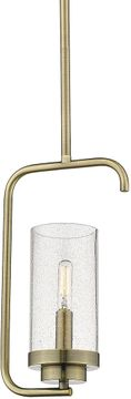 Golden Lighting 2380-M1L-AB-SD Holden Contemporary Aged Brass Mini Hanging Lamp