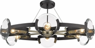 Golden Lighting 2635-6SF-BLK-AB Amari Contemporary Black Flush Lighting