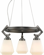 Golden Lighting 2712-3-AS-OP Hollis Modern Aged Steel Mini Chandelier Light