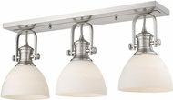 Golden Lighting 3118-3SF-PW-OP Hines Contemporary Pewter 3-Light Overhead Lighting