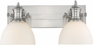Golden Lighting 3118-BA2-PW-OP Hines Contemporary Pewter 2-Light Bathroom Lighting Fixture
