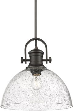 Golden Lighting 3118-L RBZ-SD Hines Rubbed Bronze Pendant Light Fixture