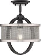 Golden Lighting 3167-1SF-BLK-PW Colson Contemporary Matte Black Flush Mount Light Fixture