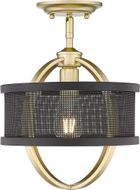 Golden Lighting 3167-1SF-OG-BLK Colson Contemporary Olympic Gold Flush Ceiling Light Fixture