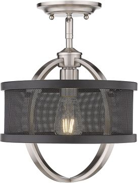 Golden Lighting 3167-1SF-PW-BLK Colson Contemporary Pewter Home Ceiling Lighting