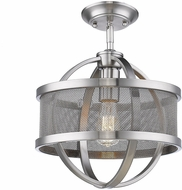 Golden Lighting 3167-1SF-PW-PW Colson Contemporary Pewter Flush Mount Ceiling Light Fixture