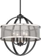 Golden Lighting 3167-4P-BLK-PW Colson Contemporary Matte Black Mini Lighting Chandelier