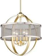 Golden Lighting 3167-4P-OG-PW Colson Contemporary Olympic Gold Mini Ceiling Chandelier